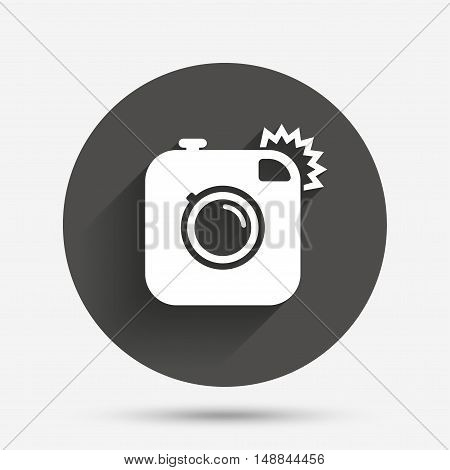 Hipster photo camera sign icon. Retro camera with flash symbol. Circle flat button with shadow. Vector