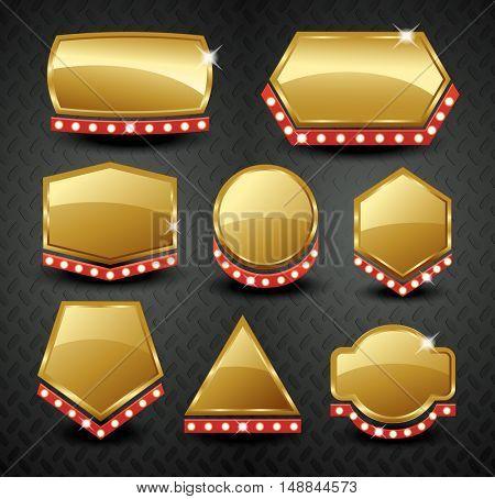 Set of 9 blank golden vintage frame,banner,label,Vector EPS10