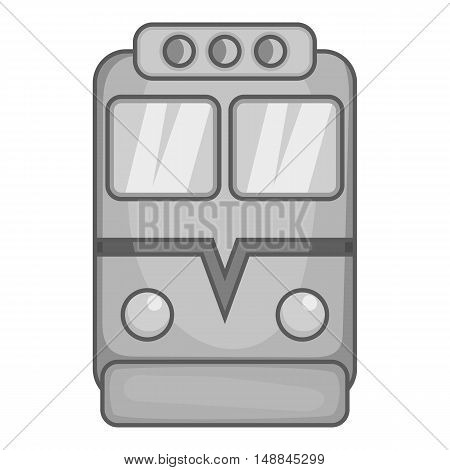 Train icon in black monochrome style isolated on white background. Transport symbol vector illustration