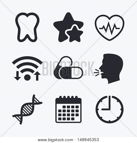Maternity icons. Pills, tooth, DNA and heart cardiogram signs. Heartbeat symbol. Deoxyribonucleic acid. Dental care. Wifi internet, favorite stars, calendar and clock. Talking head. Vector