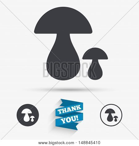 Mushroom sign icon. Boletus mushroom symbol. Flat icons. Buttons with icons. Thank you ribbon. Vector
