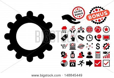 Gear icon with bonus clip art. Vector illustration style is flat iconic bicolor symbols intensive red and black colors white background.