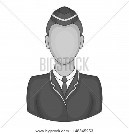 Woman train conductor icon in black monochrome style isolated on white background. Job symbol vector illustration