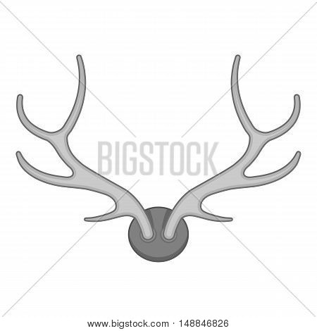 Deer antler icon in black monochrome style isolated on white background. Trophy symbol vector illustration