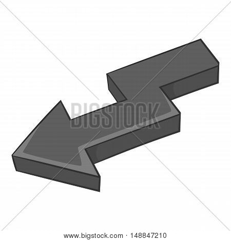 Curve arrow icon in black monochrome style isolated on white background. Click and choice symbol vector illustration