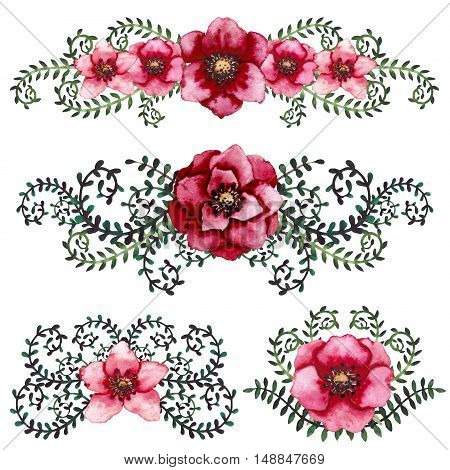 Set of Watercolor Bouquets with Bright Burgundy and Red Flowers and Deep Green Vine