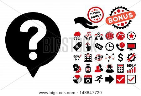 Help Balloon icon with bonus clip art. Vector illustration style is flat iconic bicolor symbols intensive red and black colors white background.