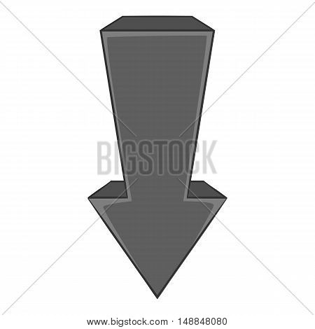 Arrow is pointing down icon in black monochrome style isolated on white background. Click and choice symbol vector illustration