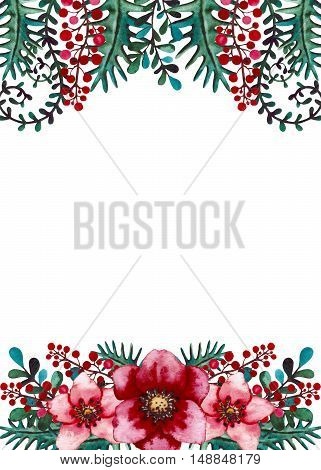 Frame with Watercolor Bright Red Flowers Berries Deep Green Leaves and Herbs