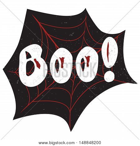 Halloween poster with text inside - Boo. Textured background. Grunge modern typographic, brush calligraphy and hand drawn lettering. Vector illustration. Use halloween cards, covers, tags, icons set and more.