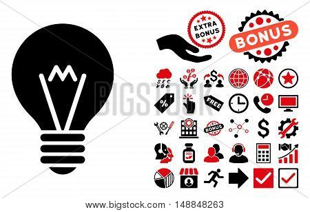 Hint Bulb icon with bonus icon set. Vector illustration style is flat iconic bicolor symbols intensive red and black colors white background.