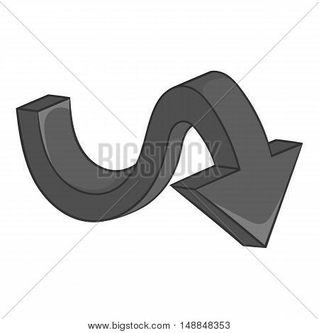 Big curved arrow icon in black monochrome style isolated on white background. Click and choice symbol vector illustration
