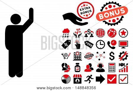 Hitchhike Pose icon with bonus pictogram. Vector illustration style is flat iconic bicolor symbols intensive red and black colors white background.