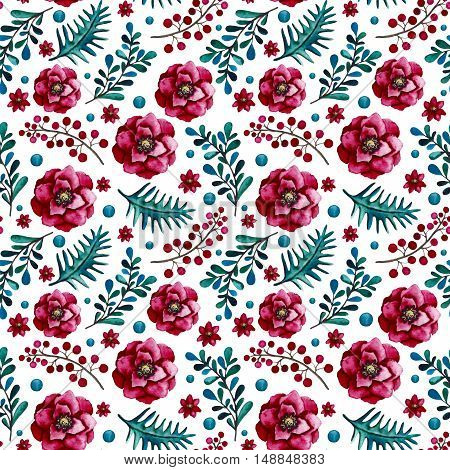 Watercolor Seamless Pattern with Blue Dots Leaves Bright Flowers and Red Berries