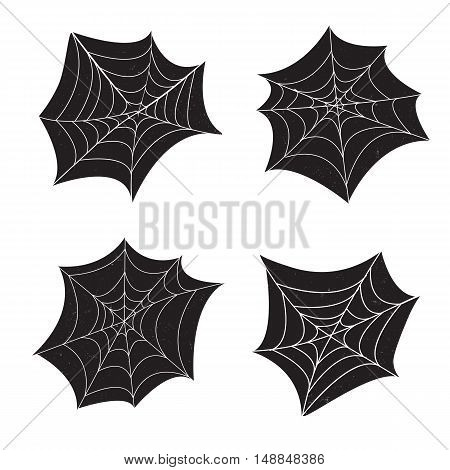 Set of 4 spider web with grunge textures on black background