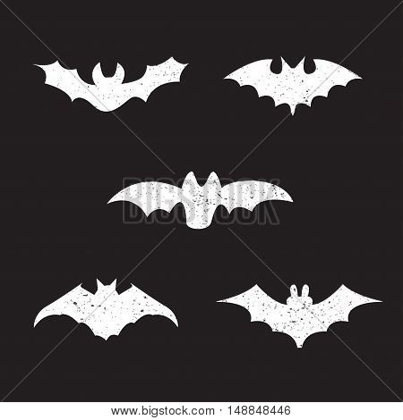 Halloween bats with grunge textures, vector elements