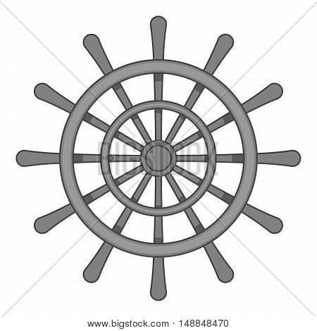 Wheel of ship icon in black monochrome style isolated on white background. Ship control symbol vector illustration