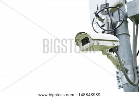 Security camera on isolated and white background