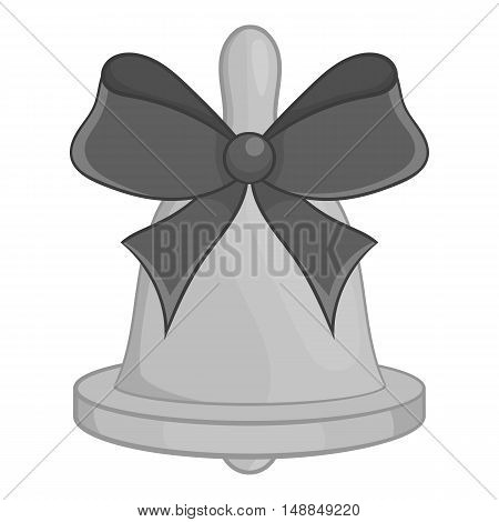Bell with bow icon in black monochrome style isolated on white background. Ring symbol vector illustration