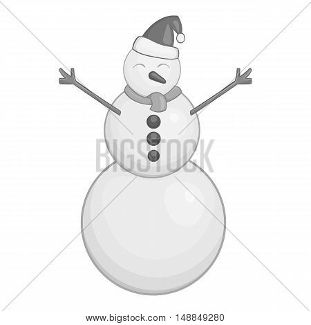 Snowman icon in black monochrome style isolated on white background. New year symbol vector illustration