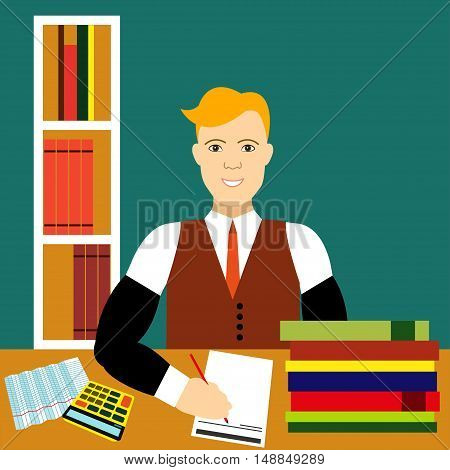 Bookkeeper Vector illustration Young male bookkeeper working with papers in office