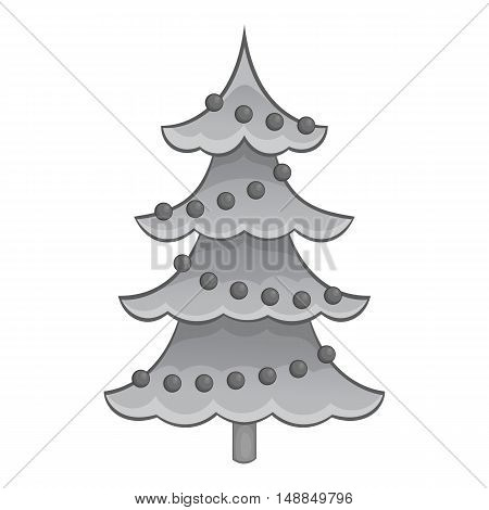 Christmas tree with toys icon in black monochrome style isolated on white background. New year symbol vector illustration
