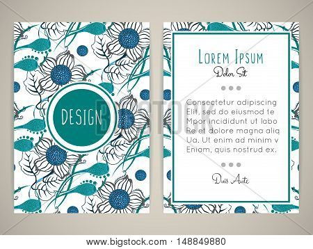 Cover design with floral pattern. Hand drawn flowers. Brochure invitation or book cover. Size a4. Vector illustration eps10
