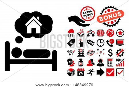 House Dreams pictograph with bonus pictogram. Vector illustration style is flat iconic bicolor symbols intensive red and black colors white background.