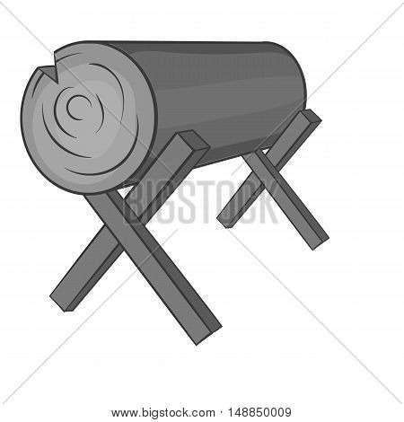 Goats for sawing logs icon in black monochrome style isolated on white background. Felling symbol vector illustration