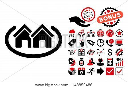 Houses Area pictograph with bonus pictures. Vector illustration style is flat iconic bicolor symbols intensive red and black colors white background.