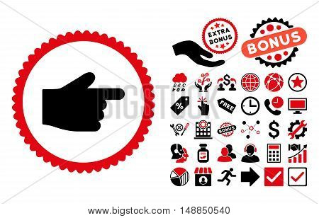 Index Finger pictograph with bonus icon set. Vector illustration style is flat iconic bicolor symbols intensive red and black colors white background.