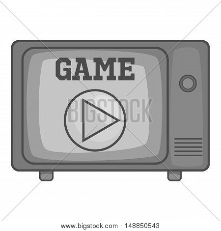 Game on retro TV icon in black monochrome style isolated on white background. Play symbol vector illustration
