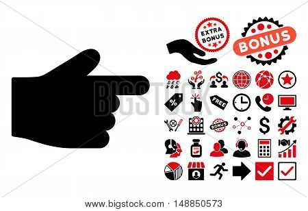 Index Finger icon with bonus images. Vector illustration style is flat iconic bicolor symbols intensive red and black colors white background.