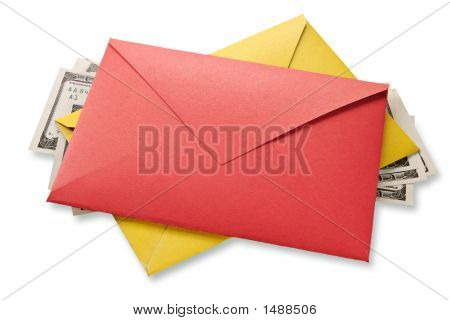 Envelopes And Dollars Background