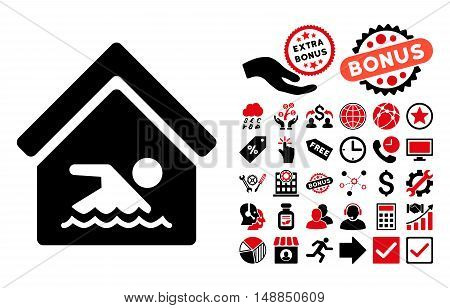Indoor Water Pool pictograph with bonus icon set. Vector illustration style is flat iconic bicolor symbols intensive red and black colors white background.