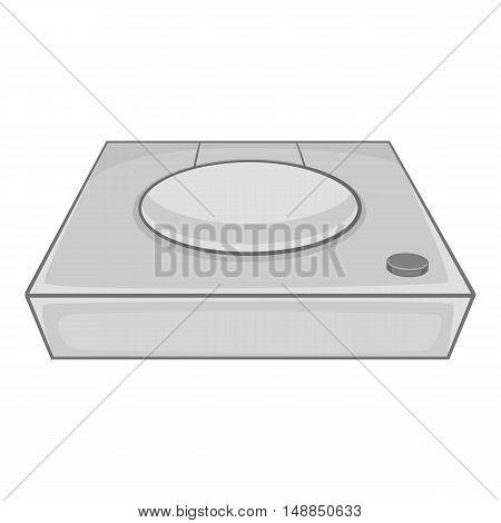 Game console icon in black monochrome style isolated on white background. Play symbol vector illustration