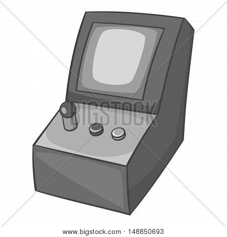 Slot machine icon in black monochrome style isolated on white background. Play symbol vector illustration