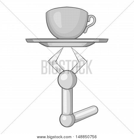 Robot arm holding tray with mug of tea icon in black monochrome style isolated on white background. Technology symbol vector illustration