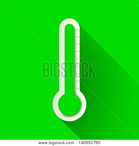 illustration of green color thermometer with shadow on green background