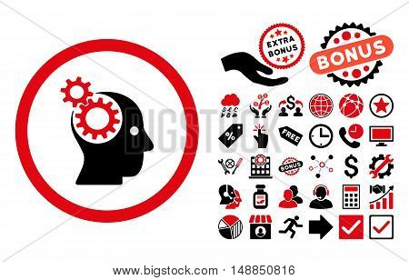 Intellect Gears pictograph with bonus elements. Vector illustration style is flat iconic bicolor symbols intensive red and black colors white background.
