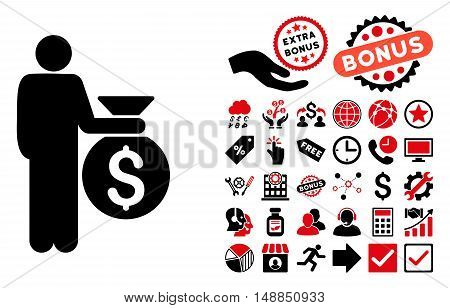 Investor icon with bonus pictograph collection. Vector illustration style is flat iconic bicolor symbols intensive red and black colors white background.