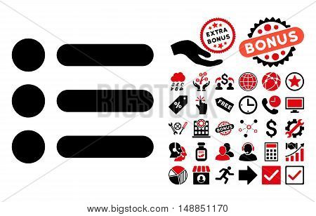 Items icon with bonus pictograph collection. Vector illustration style is flat iconic bicolor symbols intensive red and black colors white background.