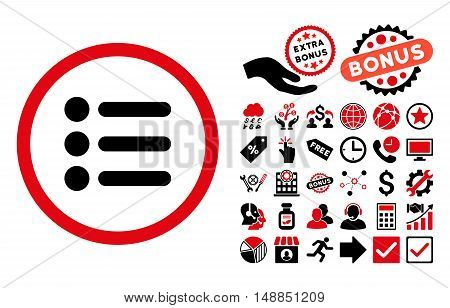 Items pictograph with bonus pictures. Vector illustration style is flat iconic bicolor symbols intensive red and black colors white background.