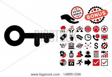 Key icon with bonus pictogram. Vector illustration style is flat iconic bicolor symbols intensive red and black colors white background.