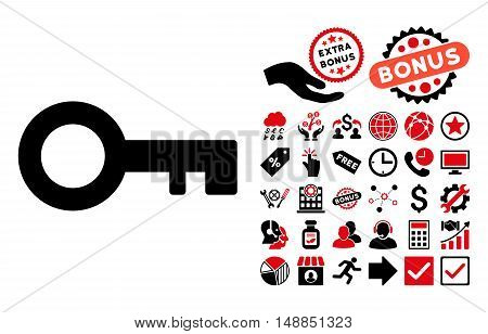 Key pictograph with bonus pictures. Vector illustration style is flat iconic bicolor symbols intensive red and black colors white background.