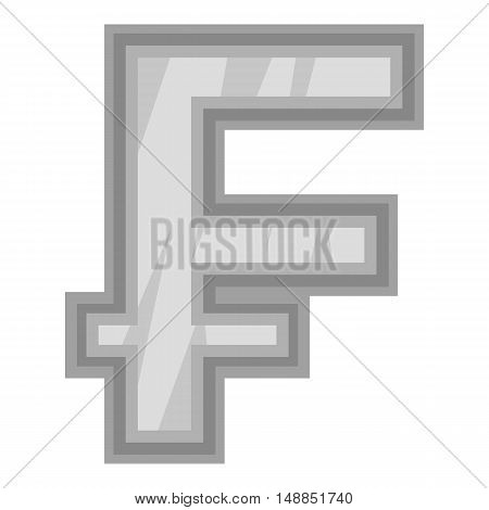 Sign of money frank icon in black monochrome style isolated on white background. Currency symbol vector illustration