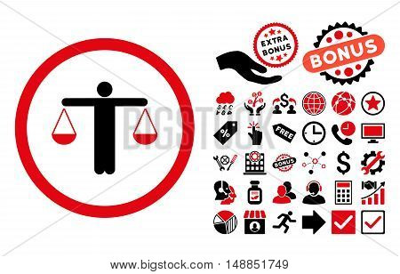 Lawyer pictograph with bonus design elements. Vector illustration style is flat iconic bicolor symbols intensive red and black colors white background.