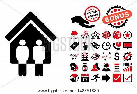 Living Persons icon with bonus images. Vector illustration style is flat iconic bicolor symbols intensive red and black colors white background.