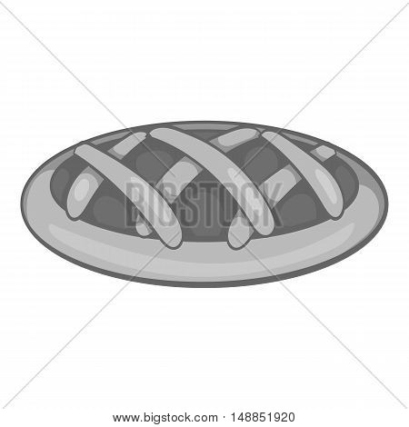 Cake icon in black monochrome style isolated on white background. Food symbol vector illustration