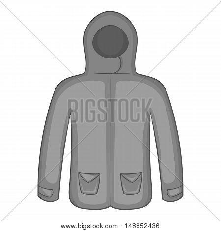 Mens winter jacket icon in black monochrome style isolated on white background. Clothing symbol vector illustration